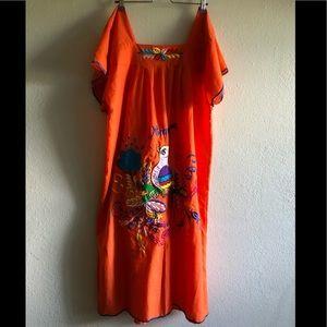Orange embroidered Nicaragua dress